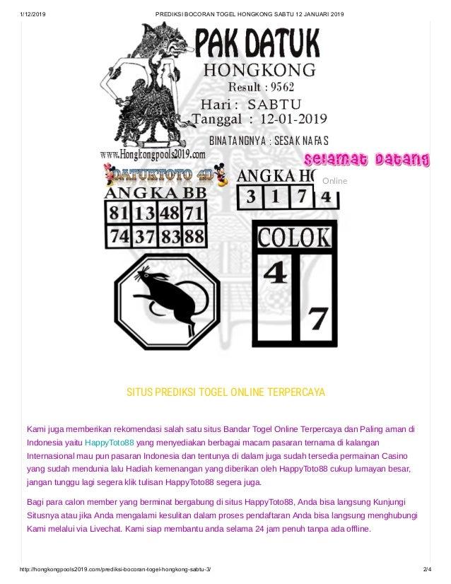 Prediksi bocoran togel hongkong sabtu 12 januari 2019