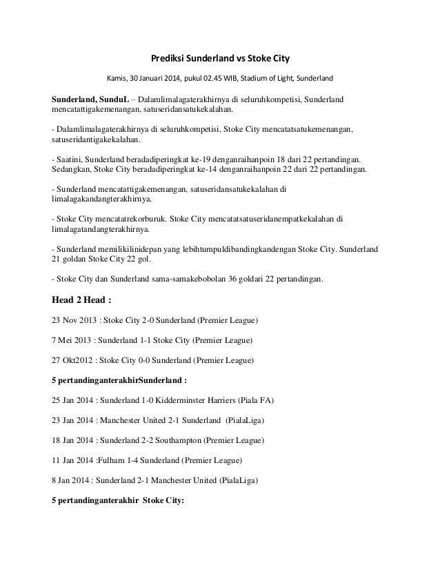 Prediksi Sunderland vs Stoke City Kamis, 30 Januari 2014, pukul 02.45 WIB, Stadium of Light, Sunderland  Sunderland, Sundu...