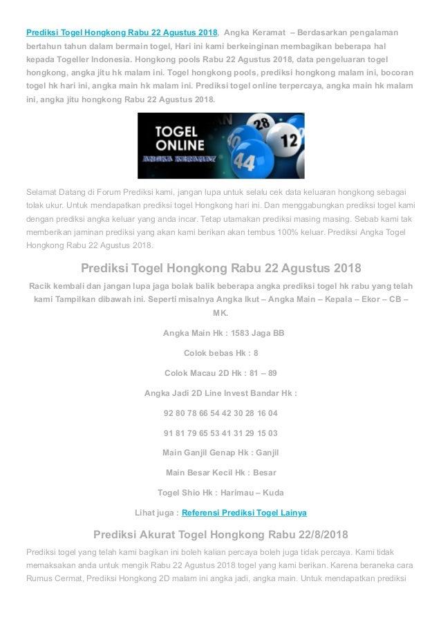 Prediksi togel hongkong rabu 22 agustus 2018 angka keramat