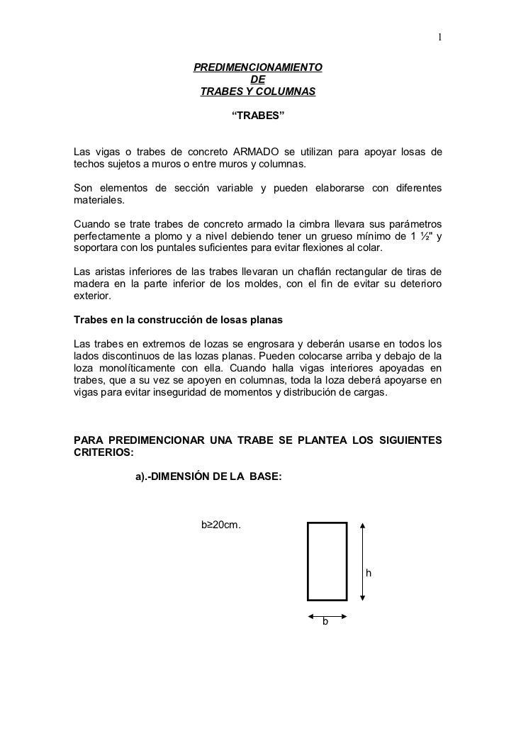 1                         PREDIMENCIONAMIENTO                                  DE                          TRABES Y COLUMN...
