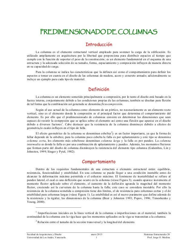 Facultad de Arquitectura y Diseño enero 2013 Sistemas Estructurales 20 Universidad de Los Andes, Venezuela. 1 Prof. Jorge ...