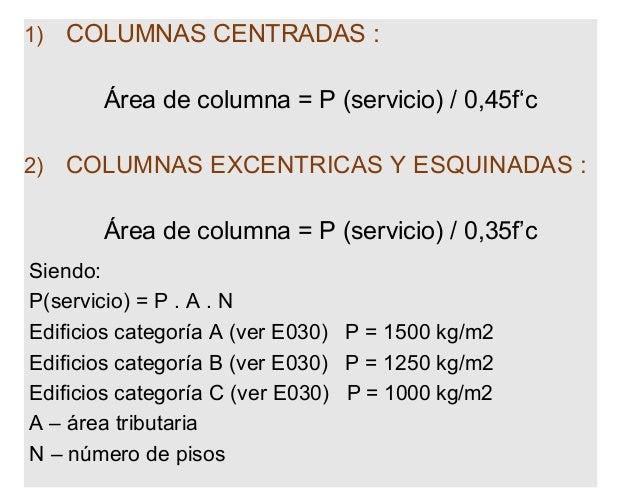 Predimensionamiento de columnas por area tributaria