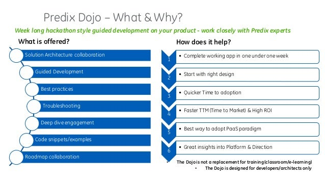 Predix Dojo – What & Why? Solution Architecture collaboration Guided Development Best practices Troubleshooting Deep dive ...