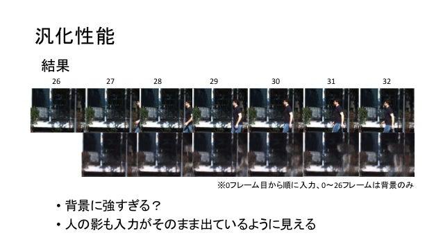 汎化性能 結果 26 27 28 29 30 31 32 ※0フレーム目から順に入力、0~26フレームは背景のみ • 背景に強すぎる? • 人の影も入力がそのまま出ているように見える