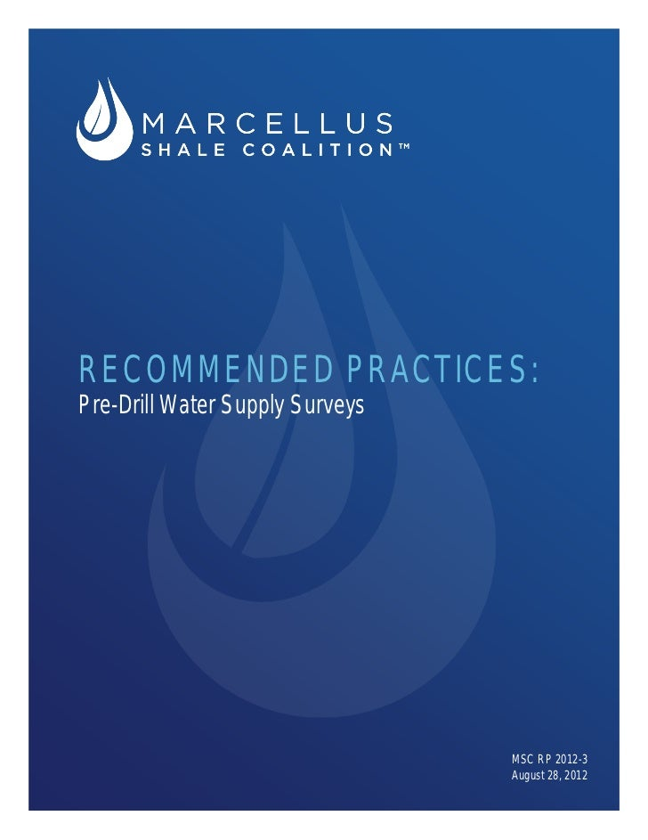 RECOMMENDED PRACTICES:Pre-Drill Water Supply Surveys                                 MSC RP 2012-3                        ...