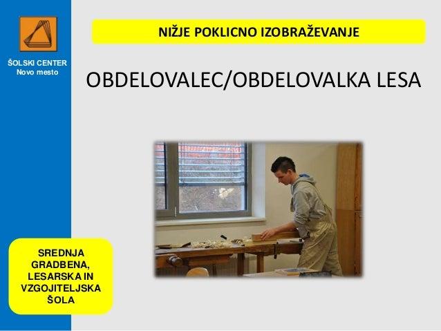 ŠOLSKI CENTER Novo mesto OBDELOVALEC/OBDELOVALKA LESA NIŽJE POKLICNO IZOBRAŽEVANJE SREDNJA GRADBENA, LESARSKA IN VZGOJITEL...