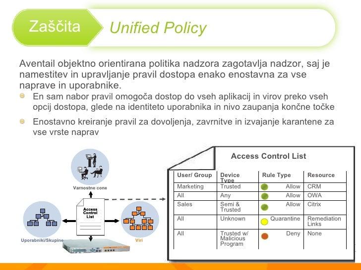 Aventail  objektno orientirana politika nadzora zagotavlja nadzor, saj je  namestitev in upravljanje pravil dostopa enako ...