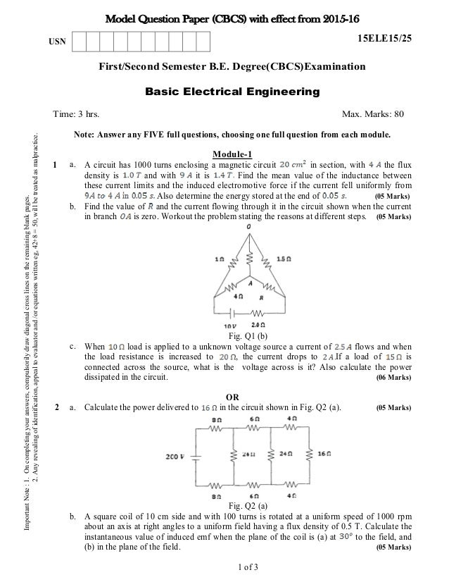 pre engineering model question papersElectric Circuit Question Papers #16