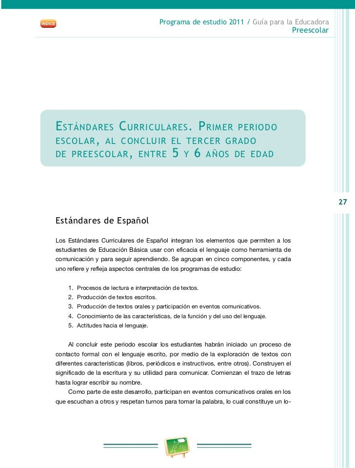 Preescolar2011 guia educadora for Estandares para preescolar