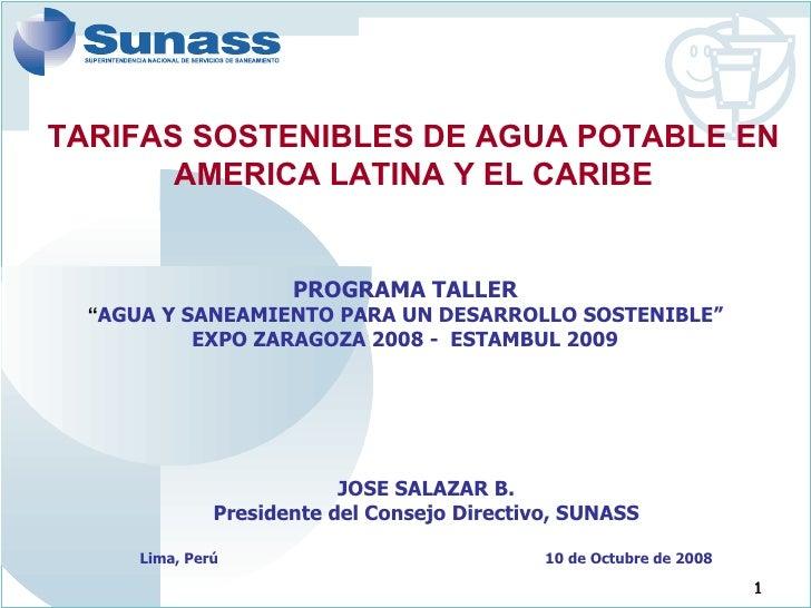 """PROGRAMA TALLER """" AGUA Y SANEAMIENTO PARA UN DESARROLLO SOSTENIBLE"""" EXPO ZARAGOZA 2008 -  ESTAMBUL 2009 JOSE SALAZAR B. Pr..."""