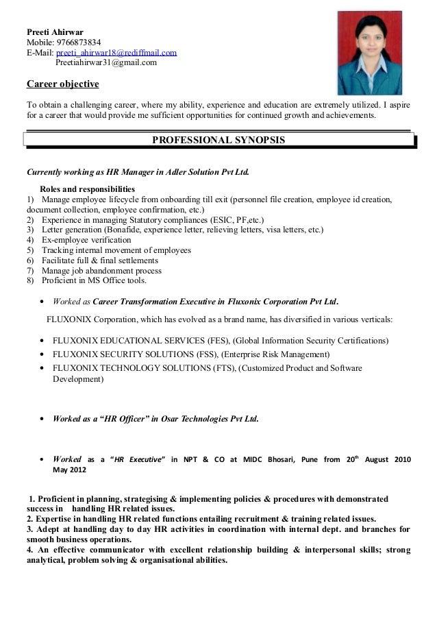 preeti resume