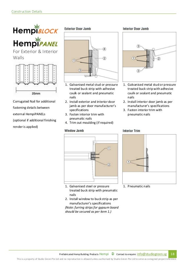 Prefabricated Hempcrete Specification And Installation Manual 2017