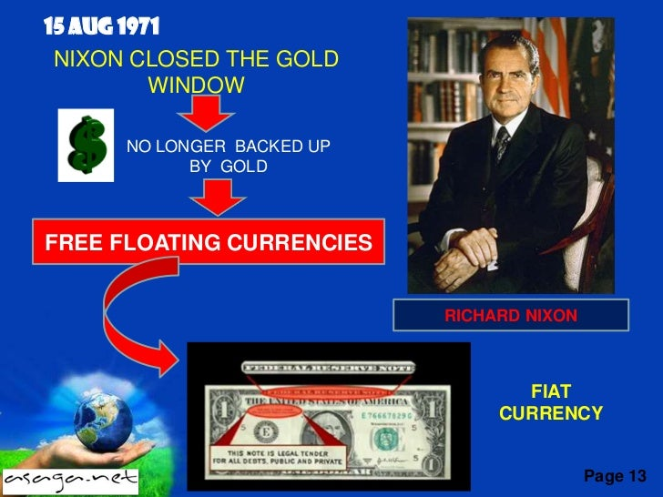 Image result for nixon closed gold window in 1971