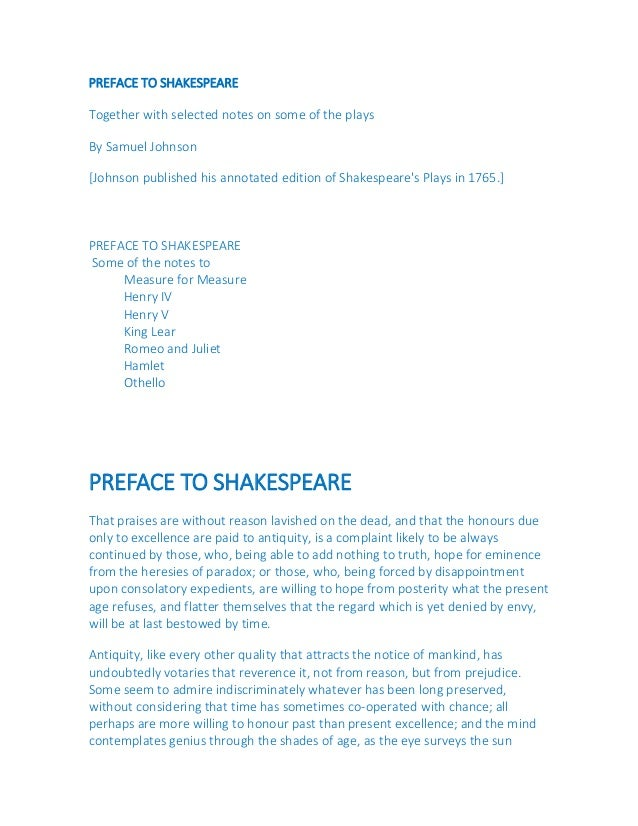 the preface to shakespeare The plays of william shakespeare was an 18th-century edition of  he signed a contract to edit an eight-volume set of shakespeare's writings including a preface,.