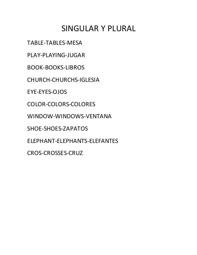 SINGULAR Y PLURAL TABLE-TABLES-MESA PLAY-PLAYING-JUGAR BOOK-BOOKS-LIBROS CHURCH-CHURCHS-IGLESIA EYE-EYES-OJOS COLOR-COLORS...