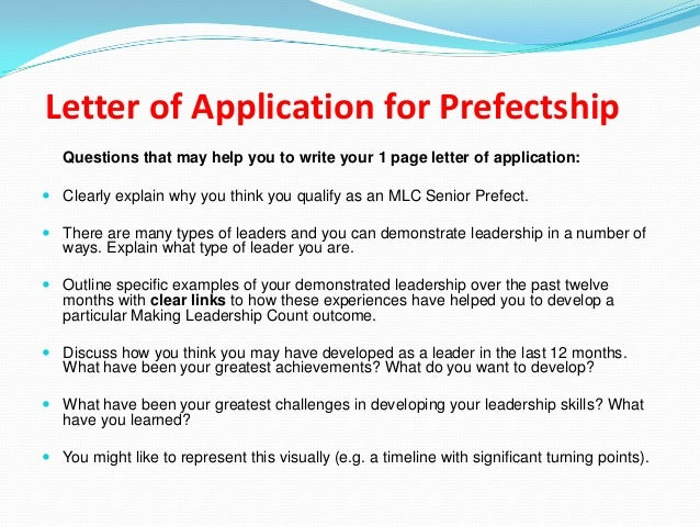 Application Letter For Prefect How To Write A Good Prefect