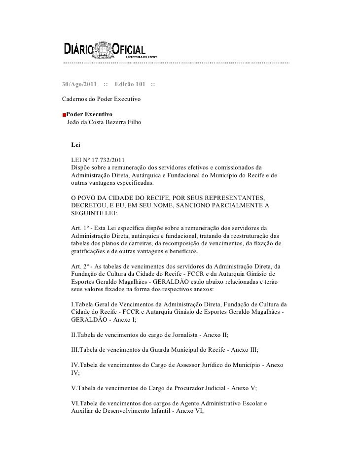30/Ago/2011    ::   Edição 101 ::Cadernos do Poder Executivo Poder Executivo João da Costa Bezerra Filho   Lei   LEI Nº 17...