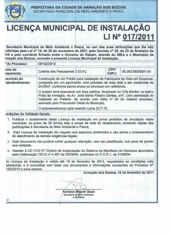PREFEITURA DA CIDADE DE ARMAÇÃO DOS BÚZIOS                           SECRETARIA MUN1CIPAL                  E MEIO AMBIENTE...