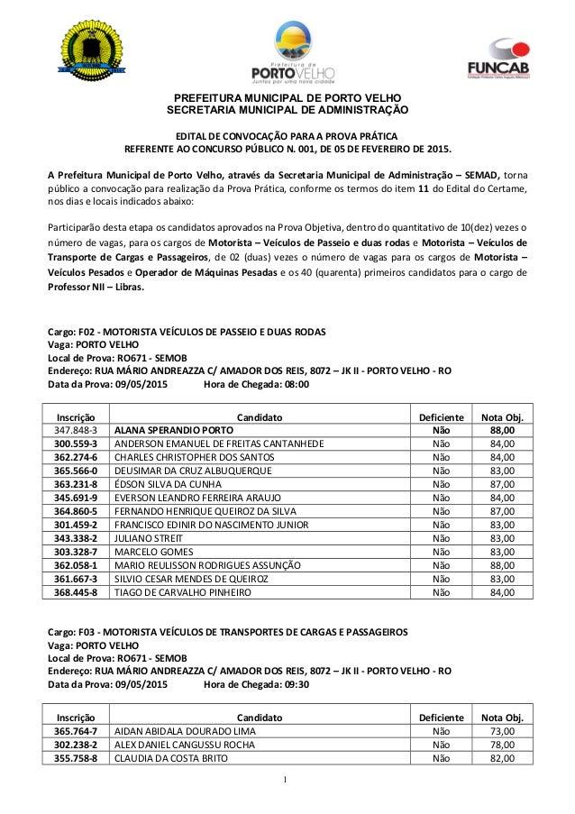 PREFEITURA MUNICIPAL DE PORTO VELHO SECRETARIA MUNICIPAL DE ADMINISTRAÇÃO EDITAL DE CONVOCAÇÃO PARA A PROVA PRÁTICA REFERE...
