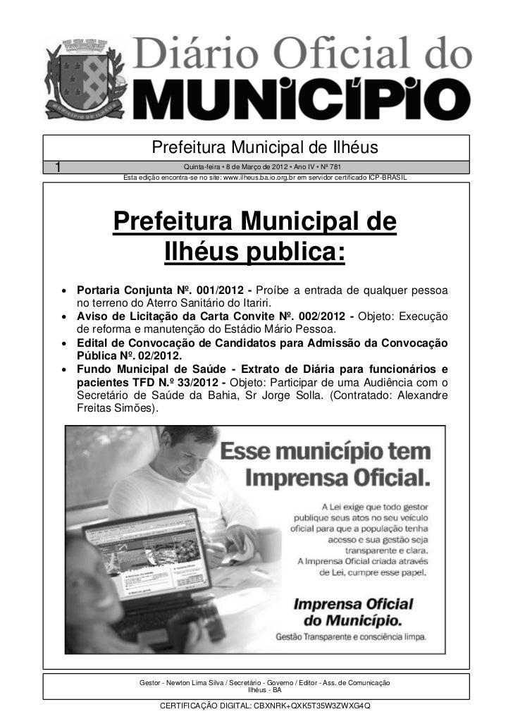 Prefeitura Municipal de Ilhéus1                             Quinta-feira • 8 de Março de 2012 • Ano IV • Nº 781           ...