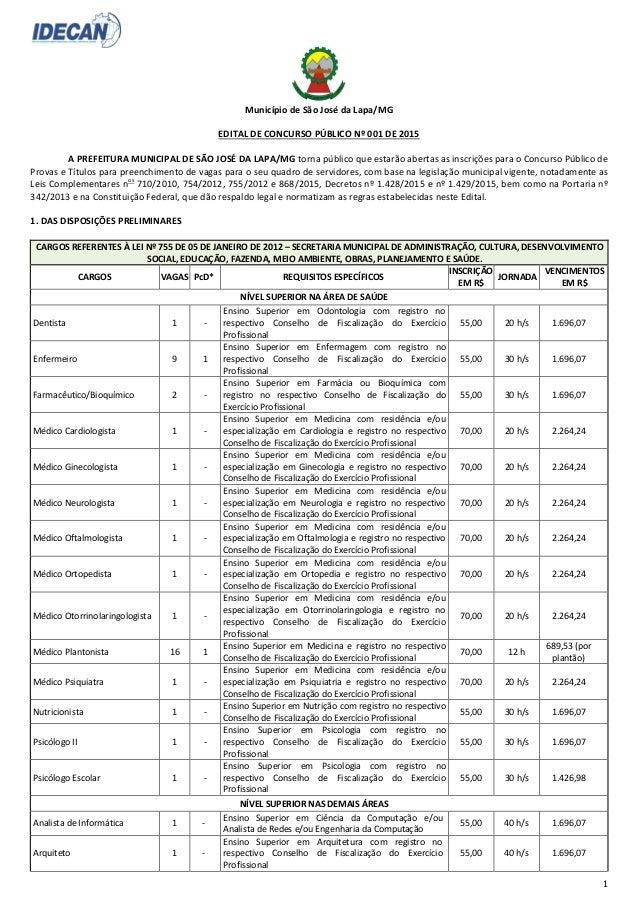 1 Município de São José da Lapa/MG EDITAL DE CONCURSO PÚBLICO Nº 001 DE 2015 A PREFEITURA MUNICIPAL DE SÃO JOSÉ DA LAPA/MG...