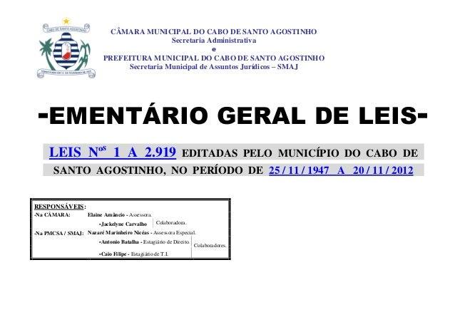CÂMARA MUNICIPAL DO CABO DE SANTO AGOSTINHO                                          Secretaria Administrativa            ...