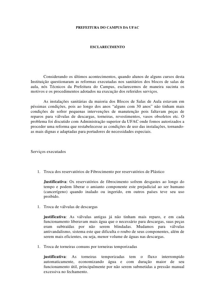 PREFEITURA DO CAMPUS DA UFAC                                      ESCLARECIMENTO             Considerando os últimos acont...