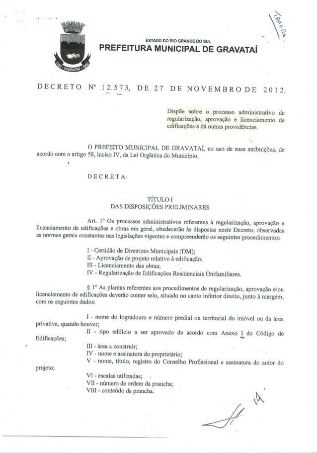 Prefeitura municipal de gravataí   decreto 12573 - processo administrativo de regularização aprovação e licenciamento