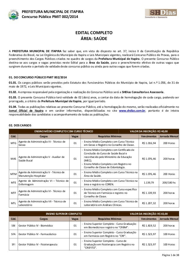 Página 1 de 38 PREFEITURA MUNICIPAL DE ITAPIRA Concurso Público PMIT 002/2014 EDITAL COMPLETO ÁREA: SAÚDE A PREFEITURA MUN...