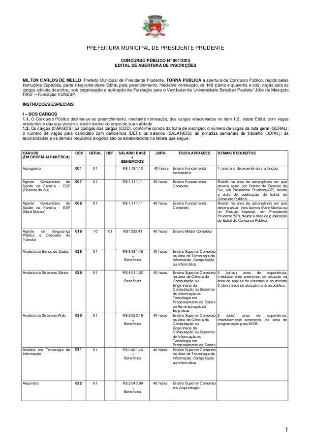 PREFEITURA MUNICIPAL DE PRESIDENTE PRUDENTE 1 CONCURSO PÚBLICO N° 001/2015 EDITAL DE ABERTURA DE INSCRIÇÕES MILTON CARLOS ...