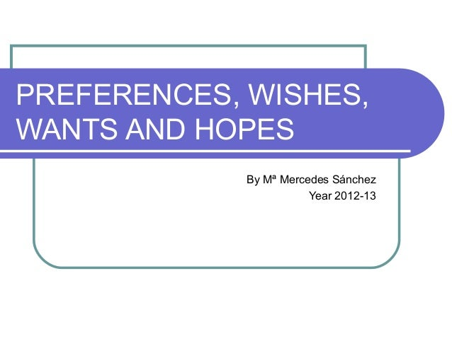 PREFERENCES, WISHES, WANTS AND HOPES By Mª Mercedes Sánchez Year 2012-13