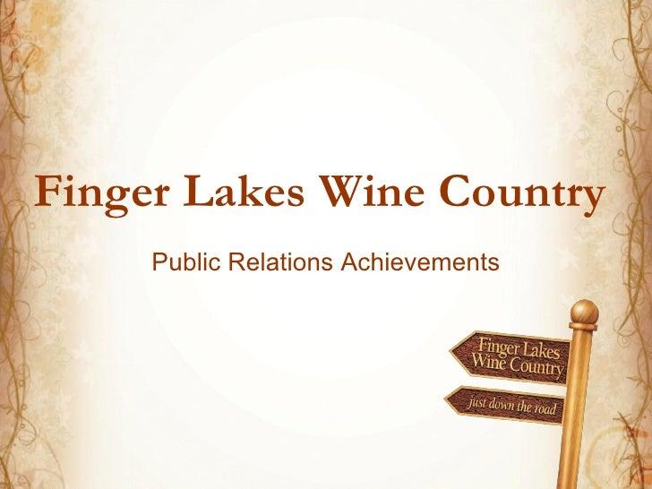 Finger Lakes Wine Country    Public Relations Achievements