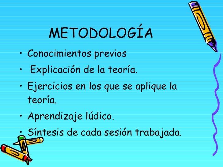 METODOLOGÍA <ul><li>Conocimientos previos </li></ul><ul><li>Explicación de la teoría. </li></ul><ul><li>Ejercicios en los ...
