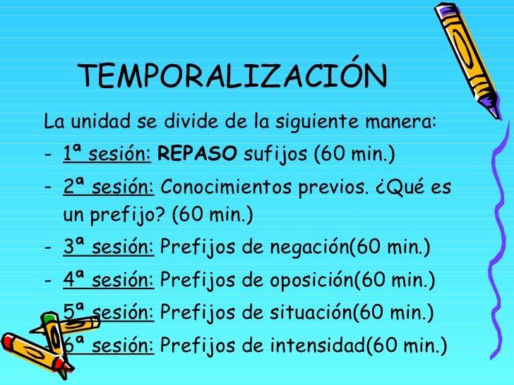 TEMPORALIZACIÓN <ul><li>La unidad se divide de la siguiente manera: </li></ul><ul><li>1ª sesión:   REPASO  sufijos (60 min...