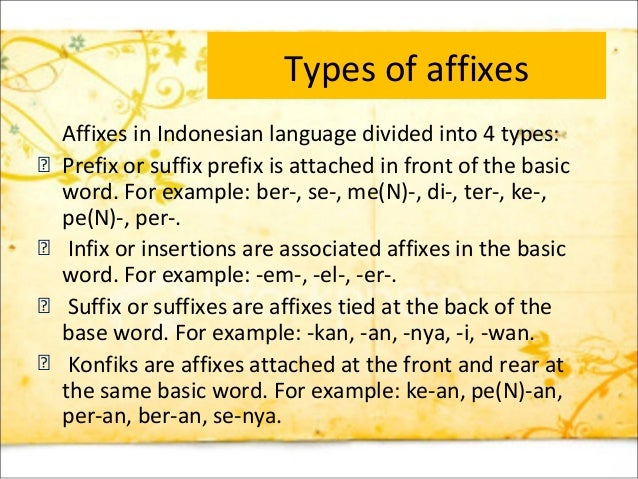 what are the two types of affixes