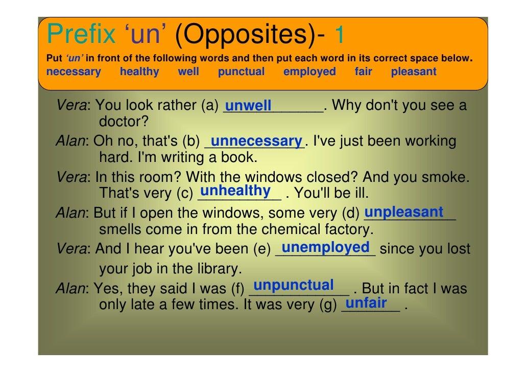 Prefixes opposites