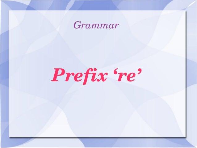 Grammar Prefix're'