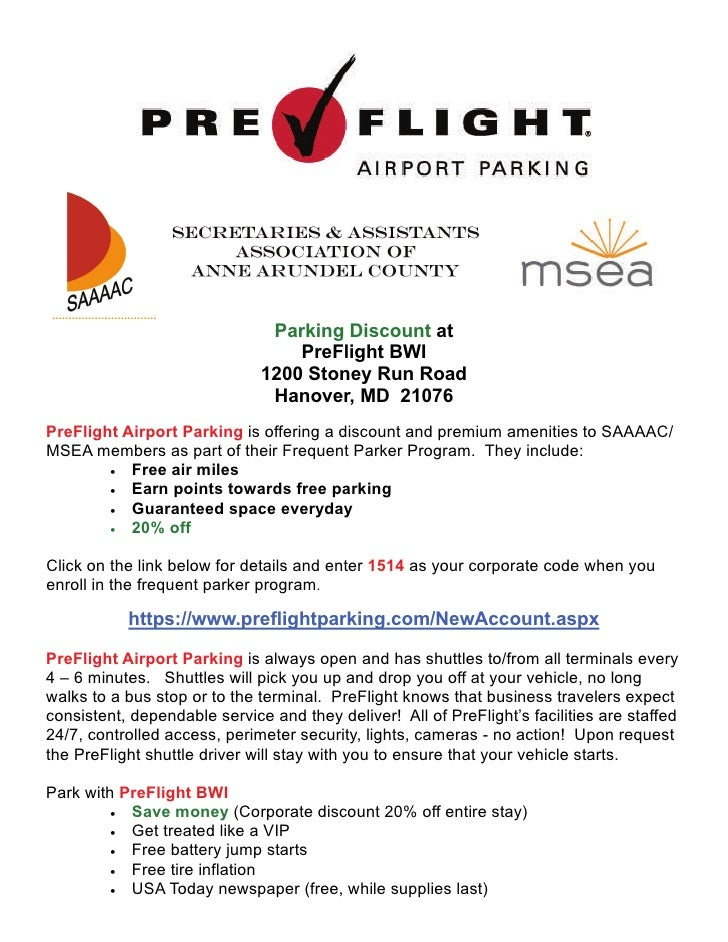 Pre flight parking flyer parking discount at preflight m4hsunfo