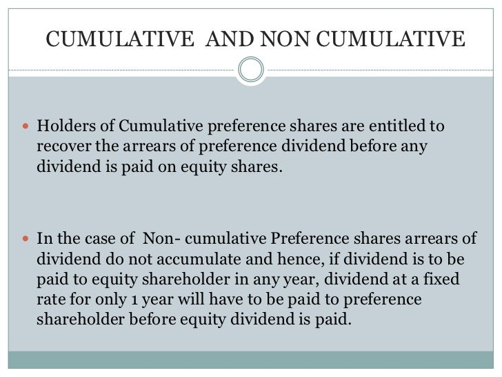 what is cumulative preference share