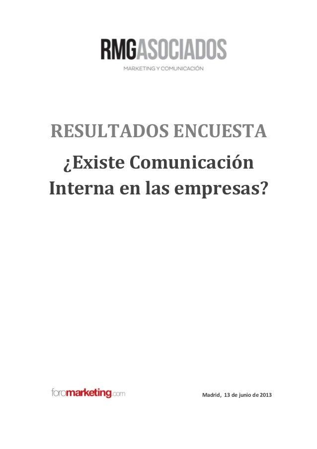 RESULTADOS ENCUESTA¿Existe ComunicaciónInterna en las empresas?Madrid, 13 de junio de 2013