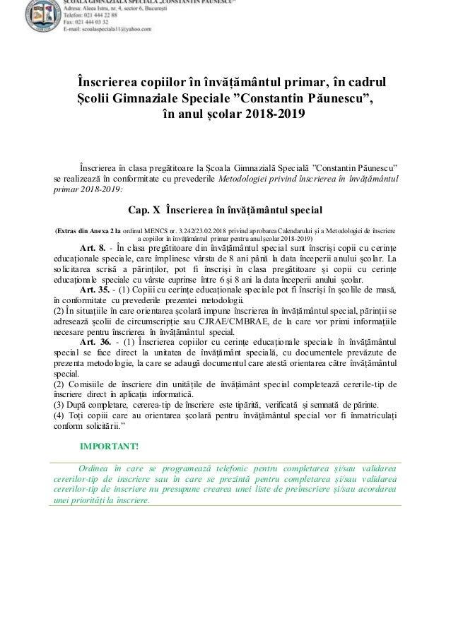 """Înscrierea copiilor în învățământul primar, în cadrul Școlii Gimnaziale Speciale """"Constantin Păunescu"""", în anul școlar 201..."""