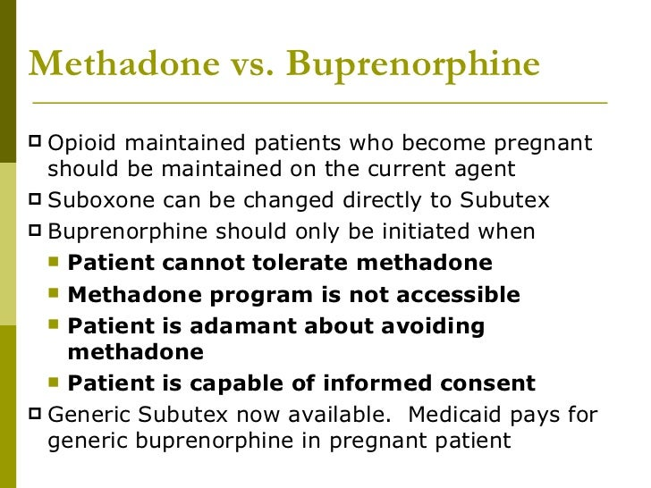 Buprenorphine vs. Methadone