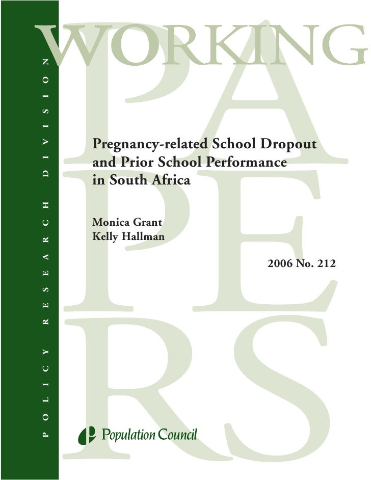 N O I S I         Pregnancy-related School Dropout V         and Prior School Performance I D         in South Africa H   ...