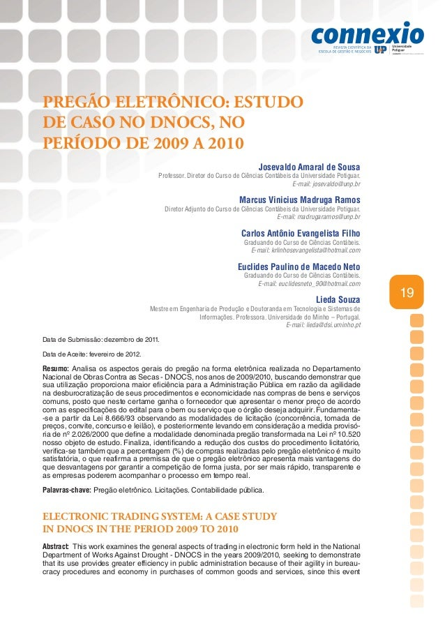 PREGÃO ELETRÔNICO: ESTUDODE CASO NO DNOCS, NOPERÍODO DE 2009 A 2010                                                       ...