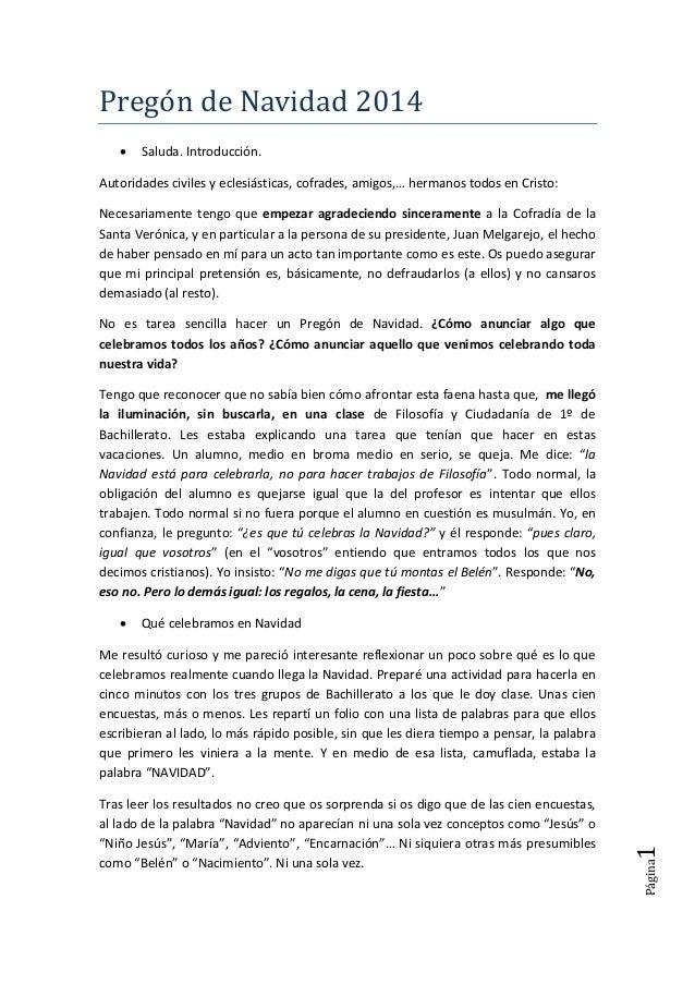 Página1 Pregón de Navidad 2014  Saluda. Introducción. Autoridades civiles y eclesiásticas, cofrades, amigos,… hermanos to...