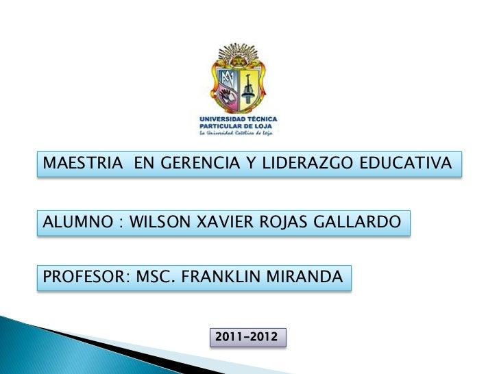 MAESTRIA EN GERENCIA Y LIDERAZGO EDUCATIVAALUMNO : WILSON XAVIER ROJAS GALLARDOPROFESOR: MSC. FRANKLIN MIRANDA            ...