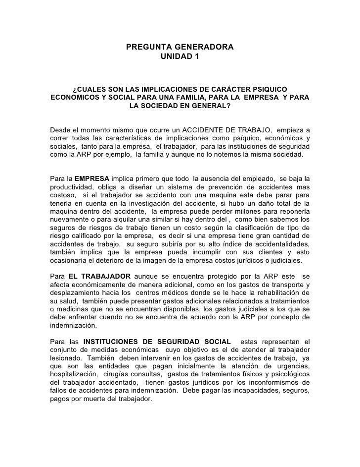 PREGUNTA GENERADORA                               UNIDAD 1       ¿CUALES SON LAS IMPLICACIONES DE CARÁCTER PSIQUICO ECONOM...