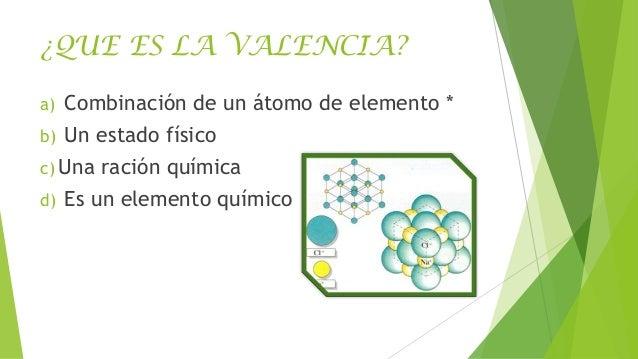 ¿QUE ES LA VALENCIA? a)  Combinación de un átomo de elemento *  b)  Un estado físico  c) Una d)  ración química  Es un ele...