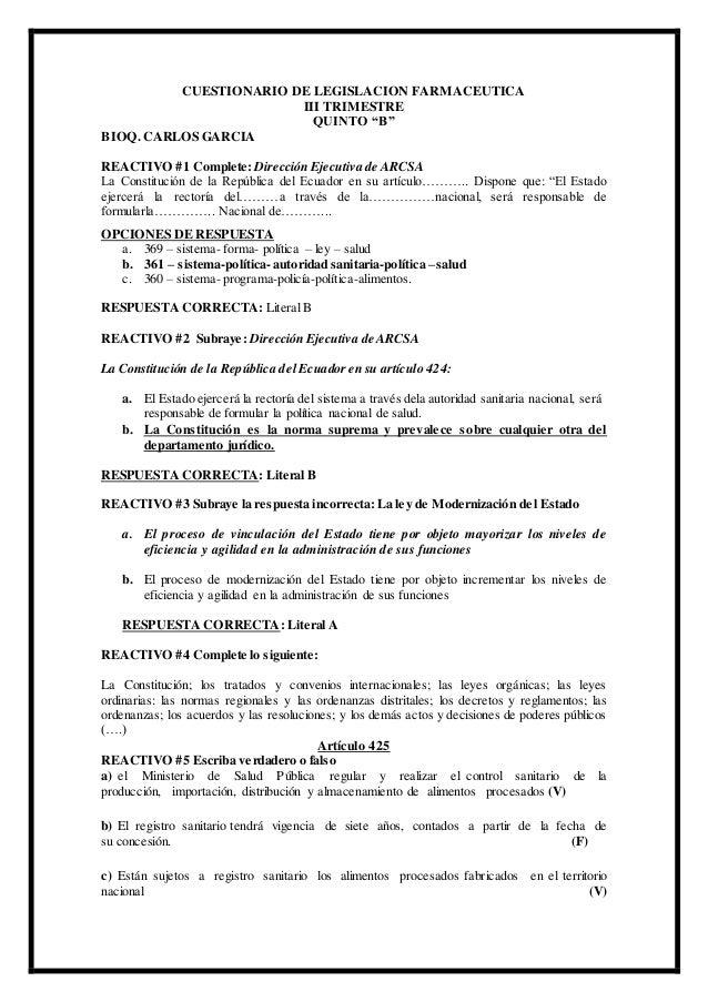 """CUESTIONARIO DE LEGISLACION FARMACEUTICA III TRIMESTRE QUINTO """"B"""" BIOQ. CARLOS GARCIA REACTIVO #1 Complete: Dirección Ejec..."""