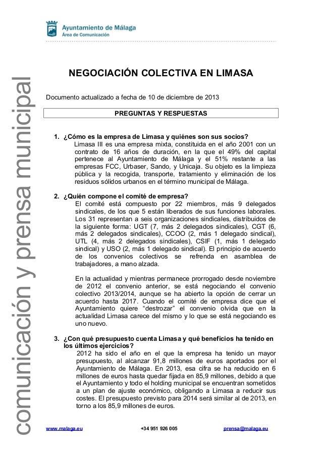 comunicación y prensa municipal  NEGOCIACIÓN COLECTIVA EN LIMASA Documento actualizado a fecha de 10 de diciembre de 2013 ...
